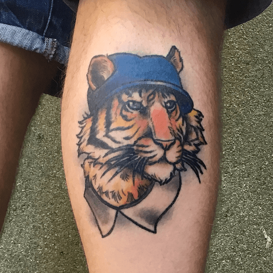 Photo of Xander's tiger tattoo, 1 year on